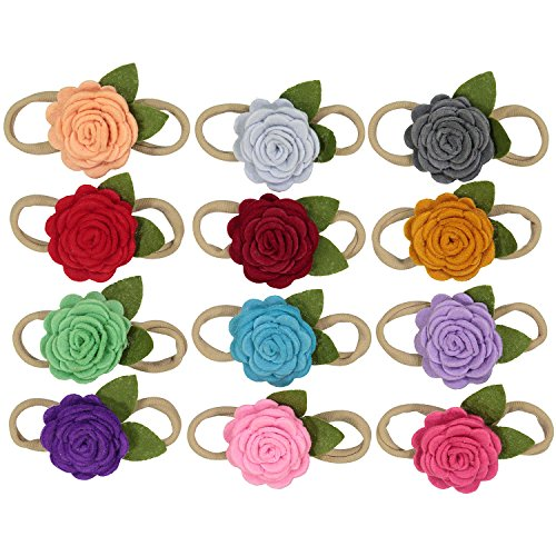 Felt Flowers on Nylon Baby Headbands For Newborn and Baby Girls - 12 Piece Pack