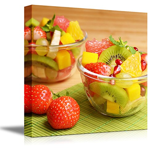 Bowl Canvas Print (Canvas Prints Wall Art - Colorful Healthy Fruit Salad in the Glass Bowls | Modern Wall Decor/ Home Decoration Stretched Gallery Canvas Wrap Giclee Print & Ready to Hang - 24