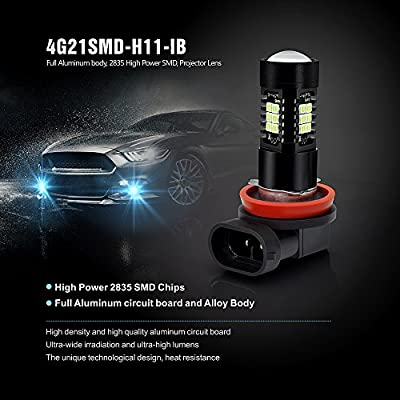 SIRIUSLED H11 H8 Ice Blue Color LED Fog Light DRL Projector lens Super Bright Plug and Play Aluminum Body Pack of 2: Automotive
