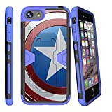 MINITURTLE Case Compatible w/ Apple iPhone 7 Plus | iPhone 8 Plus Blue Case (5.5'') [MAX DEFENSE] Dual Layer Heavy Duty Stand Case w/ Clip + Tempered Glass [iPhone 7 Plus flag case] American Shield