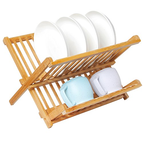 Artmeer Collapsible Bamboo Dish Rack, Holding Plate Holder, Cup Drying (Holding Rack)