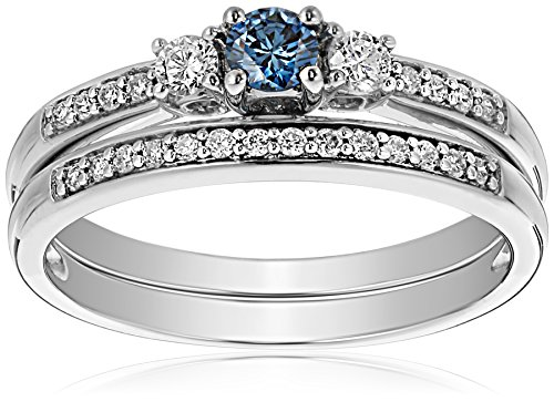 14K White Gold Blue and White Diamond Bridal Set Ring ( 1/2 cttw, G-H Color, I1-I2 Clarity), Size 8