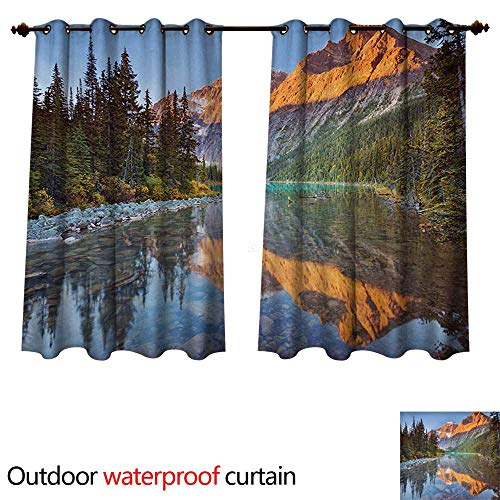Furniture Mountain Rocky Patio - WilliamsDecor National Parks Outdoor Curtains for Patio Sheer Canadian Rocky Mountain Range on Edith Cavell Lake Pastoral Image Print W96 x L72(245cm x 183cm)