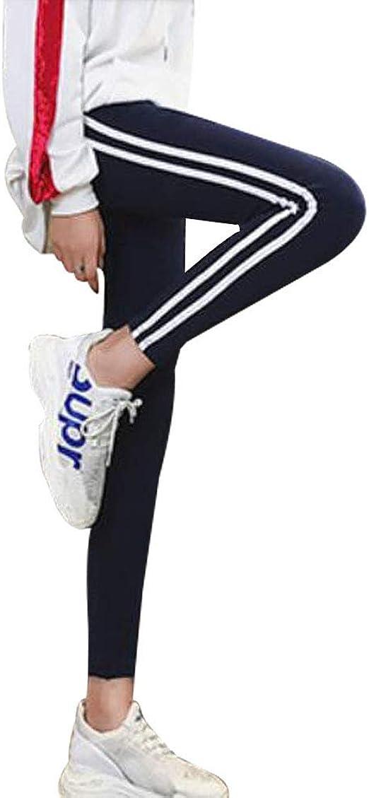 SHUOSENパンツレディース サイドラインパンツ レギンス スリムフィット ストレッチ伸縮性 ボトム スキニー ズボン 美脚 スポーツ ロングパンツ
