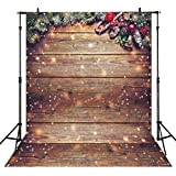 Allenjoy 5X7FT Snowflake Gold Glitter Christmas Wood Wall Photography Backdrop Xmas Rustic Barn Vintage Wooden Floor Background for Kids Portrait Photo Studio Booth Photobooth Photographer Props