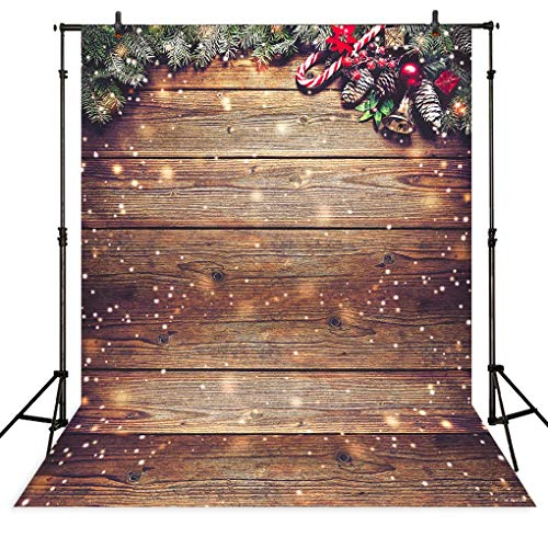 Allenjoy 5X7FT Snowflake Gold Glitter Christmas Wood Wall Photography Backdrop Xmas Rustic Barn Vintage Wooden Floor Background for Kids Portrait Photo Studio Booth Photobooth Photographer Props -