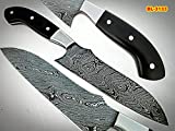 Poshland BL-3133, Custom Handmade Damascus Steel 11 Inches Chef Knife – Beautiful Micarta Handle with Stainless Steel Bolsters.