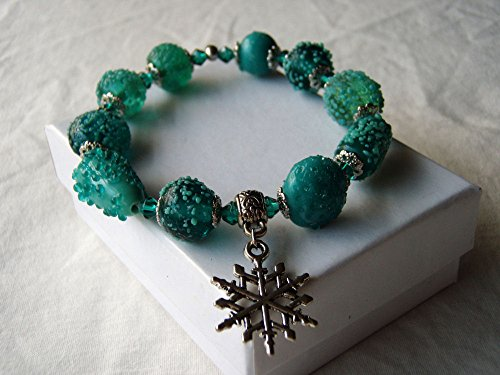 Snowflake Stretch Bracelet Blue Green Lampwork Glass & Silver Finish Charm