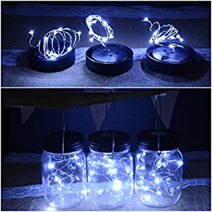Abkshine 3 Pack Solar Mason Jar Light Lid Insert, 10 LED Cool White Solar Powered Table Deck Lamp LED Firefly Fairy Lights for Wedding Christmas Holiday Party Decor(Jars Not Included)