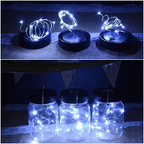 Abkshine 3 Pack Solar Mason Jar Light Lid Insert, 10 LED Cool White Solar Powered Table Deck Lamp LED Firefly Fairy Lights for Wedding Christmas Holiday Party Decor(Jars Not Included)