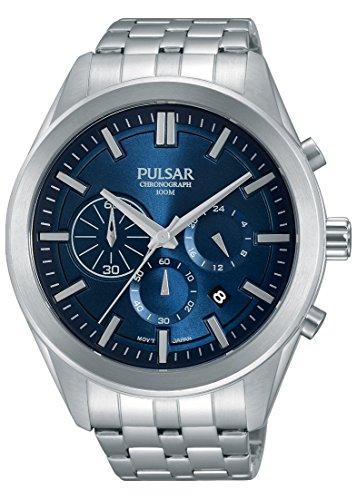 Pulsar Men's PT3679 Chronograph Analog Display Japanese Quartz Silver Watch