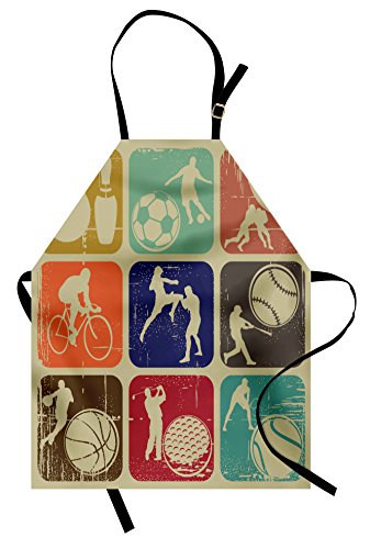 Ambesonne Sports Apron, Assorted Sports Banners Vintage Grunge Effect Tennis Soccer Bowling Sports Pub Theme, Unisex Kitchen Bib Apron with Adjustable Neck for Cooking Baking Gardening, -