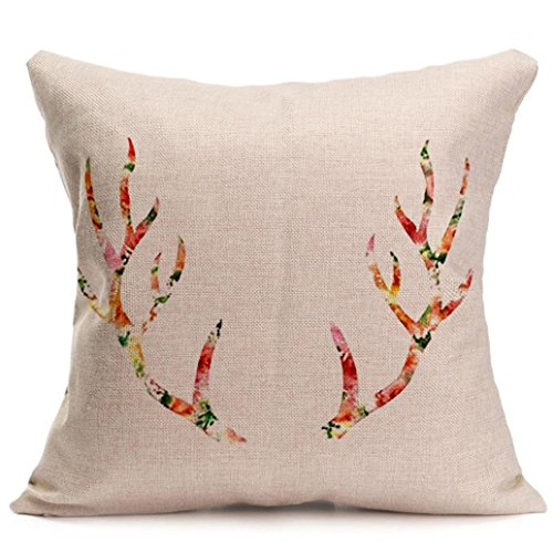 "Gotd Christmas Elk Pattern Square Decorative Linen Pillowcases Throw Pillow Case Cushion Cover 18 X 18"" Christmas Gifts Decorations Ornaments Decor (25)"