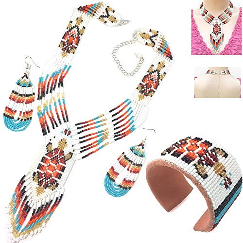 Native American Style Beaded Jewelry Set Necklace Earrings Bracelet Handmade (White)