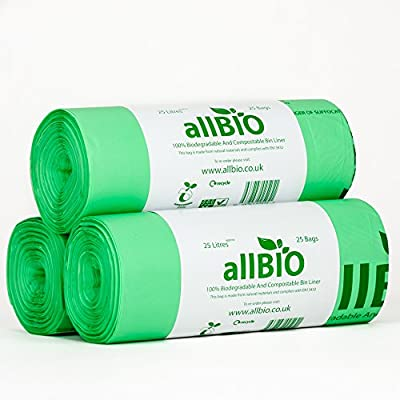 75 bolsas de basura de 25 litros, de allBIO, 100% biodegradables y ...
