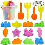 JoyGrow 17 PCS Beach Sand Toys Set for Kids,Beach Toys with Bucket,Shovels,Rakes ,Animal Transportation molds and Castle molds