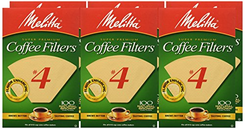 Melitta Number 4 Coffee Filters, Natural Brown, 100 Count (Pack of 6)