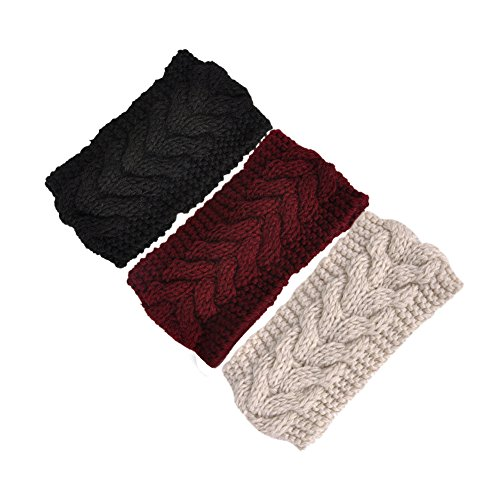 (Pusheng Women's Versatile Wool Knit Crochet Twist Hair Band Headband Ear Warmer Black Wine Red Beige Set)