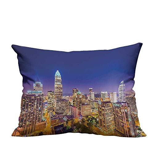YouXianHome Print Bed Pillowcases Panoramic North Carolina Uptown Sky at Night Cityscape Luminous Town Picture Indigo Orange Washable and Hypoallergenic(Double-Sided Printing) 12x16 inch