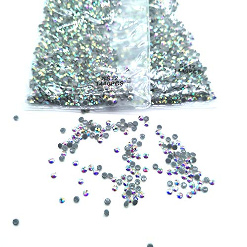 Queenme 3MM 2880pcs SS12 AB Hotfix Rhinestones Flatback Crystals for Clothes Shoes Crafts Hot Fix Round Glass Gems Stones Flat Back Iron on Rhinestones for Clothing 12SS (AB, 2880pcs SS12)