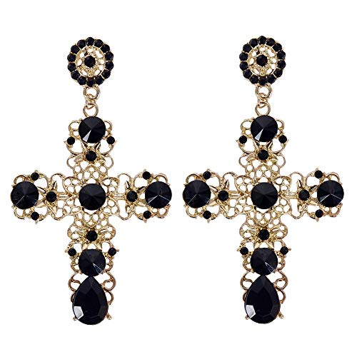 - Lanyan Vintage Palace Hollow Pattern Crystal Big Cross Drop Dangle Earrings for Women Girls Party Jewelry (Black)