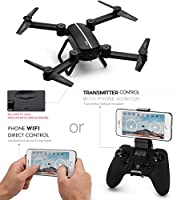 TOZO Q1012 X8tw Drone RC Quadcopter Altitude Hold Headless RTF 3D 360 Degree FPV VIDEO WIFI 720P HD Camera 6 axis 4CH 2.4Ghz Height Hold Easy Fly Steady for learning, Black from TOZO