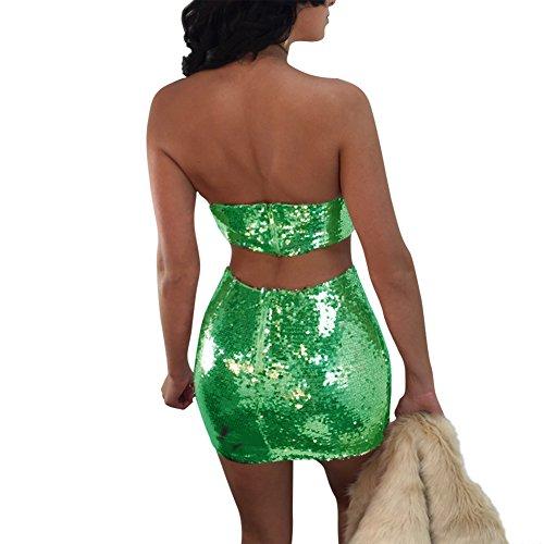 Aro Lora Club Out Green Hollow Sequins Piece Neck Dress 2 Women's Sexy Slash Bodycon SSwqrBd