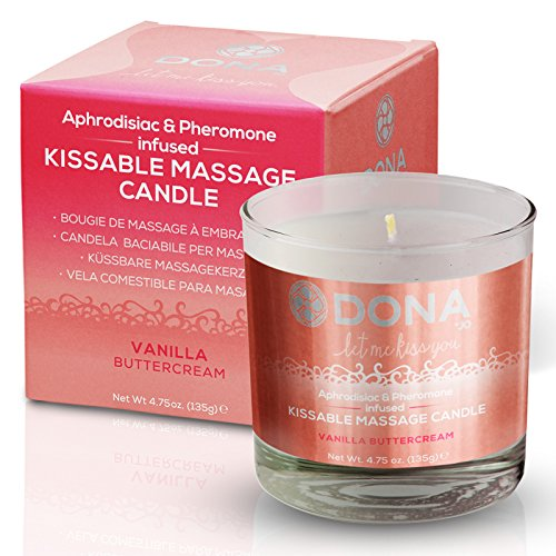 Cream Soy Candle (DONA KISSABLE SOY MASSAGE CANDLE (VANILLA BUTTERCREAM) Net Wt 4.75 oz)