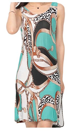 Sleeveless Bodycon Summer 12 Print Jaycargogo Scoop Fit Pattern Slim Neck Women Dresses xOznzE