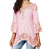 Lazzboy Womens Lace Up V Neck Chiffon 3/4 Long Sleeve Loose T Shirt Tops Blouse(S(8),Pink)