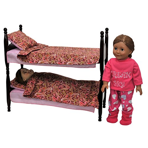 Stackable Beds for Two 18 Inch Dolls, Two Wooden Beds that can be twin beds or Stack as Bunk Bed Plus (2) 3 Pce Bedding Set! Mahogany Stained Furniture & Accessories Fits American Girl