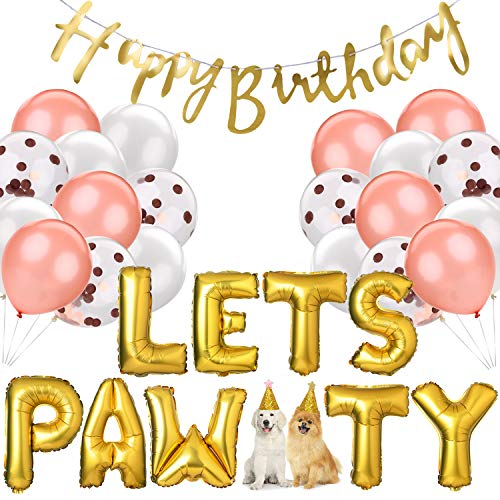 Legendog Dog Cat Birthday Party Supplies, Dog Girl or Boy Birthday Party Decorations, Lets Pawty Balloons Dog Cat Birthday Hat, Happy Pet Birthday Party Kit