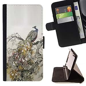 For Sony Xperia Z3 Compact / Z3 Mini (Not Z3) Case , Plumas de aves Vintage Wallpaper- la tarjeta de Crédito Slots PU Funda de cuero Monedero caso cubierta de piel