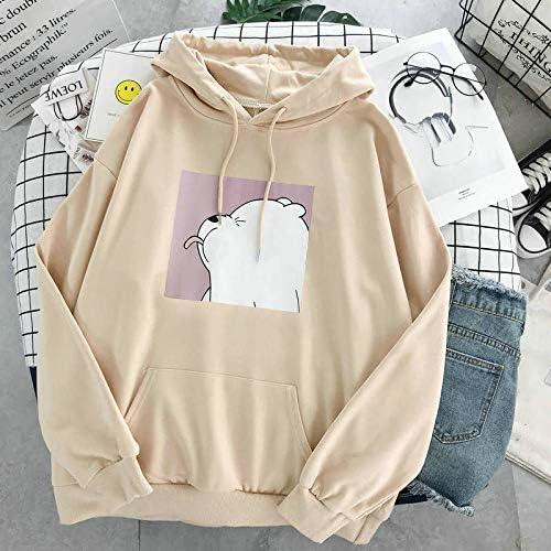 WANGYORTE Felpe Sovradimensionato Stampare Kangaroo Pocket Felpe con Cappuccio Primavera Vintage Casual (Color : Pink, Size : L)