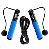 SHARBAY INC Jump Rope – Cross Fit Digital Calorie/Time/Speed/Fat/Jumping Counter Fitness Ropes for Indoor/Outdoor Exercise, Weight Setting Adjustable Sports Cable for Men Women and Children (Blue) For Sale
