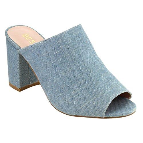 Light Blue Dress Shoes (Beston DE27 Women's Slip On Wrapped Chunky Heel Slide Sandals Peep Toe Mules, Color:LIGHT DENIM, Size:11)