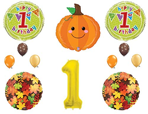 Little Pumpkin 1st Birthday Party Balloons Decoration Supplies First Patch Fall -