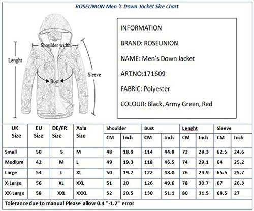 Winter Style2 Jackets ROSEUNION Parka Coat Parka Weather Heavy Down Windproof Hood Extreme black Weight Waterproof Jacket Mens Thick Padded Fur Parka pqfpvSwHx