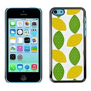 TopCaseStore / la caja del caucho duro de la cubierta de protección de la piel - Lime Polka Dot Art Leaves Pattern - Apple iPhone 5C