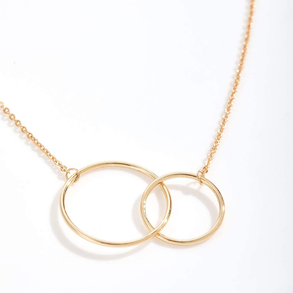 Dear Ava 100th Birthday Gift Necklace Birthday Present 2 Linked Circles Jewelry Gift for Her