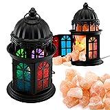 Oct17 Natural Himalayan Salt Crystals Rock Salt Lamp Vintage Hanging with Lantern Holder Cage Dimmer Control Switch - Black