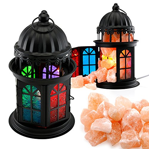 Oct17 Natural Himalayan Salt Crystals Rock Salt Lamp Vintage Hanging with Lantern Holder Cage Dimmer Control Switch - Black by Oct17