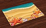Ambesonne Seashells Place Mats Set of 4, Seashells on The Beach Style Coastal Fun Relaxation Waves Shoreline, Washable Fabric Placemats for Dining Room Kitchen Table Decor, Sand Brown Orange Teal