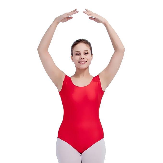 51724a68d33 Amazon.com  Tank Ballet Leotard Women Shiny Lycra Mesh Dancewear ...