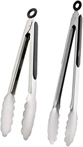 Kitchen Tongs stainless steel Cooking Tongs Salad Tongs Grill Tongs Buffet Tongs for barbecue bread buffet with Locking Metal Food Tongs and Silicone non-slip Grip 10