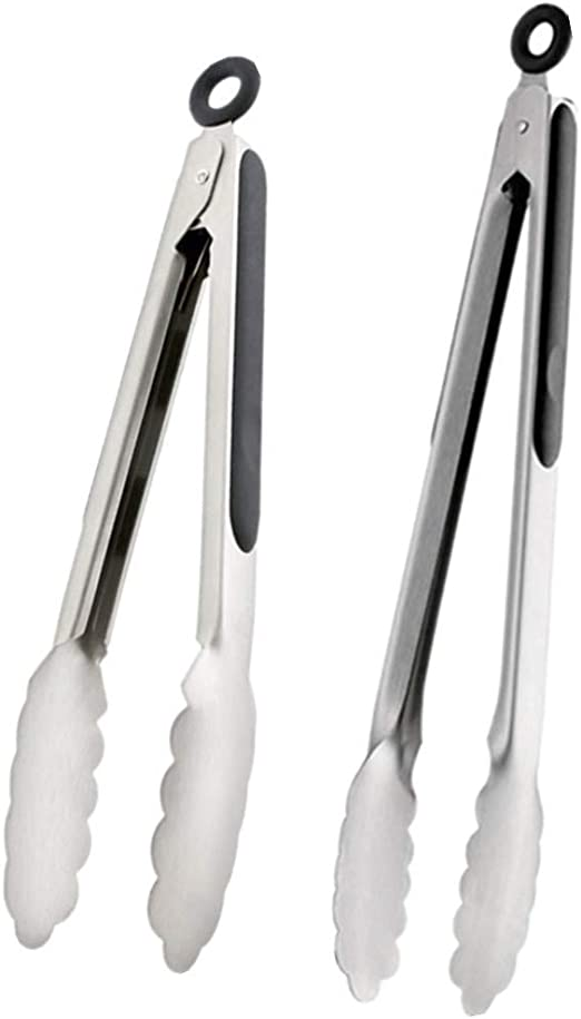 2pc Stainless Steel Salad Tongs BBQ Kitchen Cooking Food Serving Utensil tong