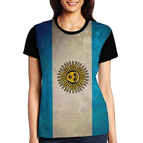 CjtStuC Women's Argentinian Flag Retro Summer Tshirts Soft Tee-Shirts