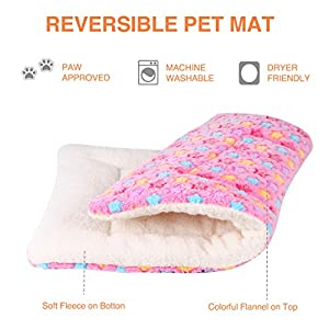 Ultra Soft Pet (Dog/Cat) Bed Mat with Cute Prints   Reversible Fleece Dog Crate Kennel Pad   Machine Washable Pet Bed…