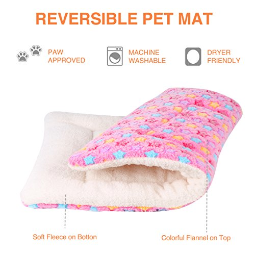 Mora Pets Ultra Soft Pet (Dog/Cat) Bed Mat Cute Prints | Reversible Fleece Dog Crate Kennel Pad | Machine Washable Pet Bed Liner (24-inch, Pink) by Mora Pets (Image #1)