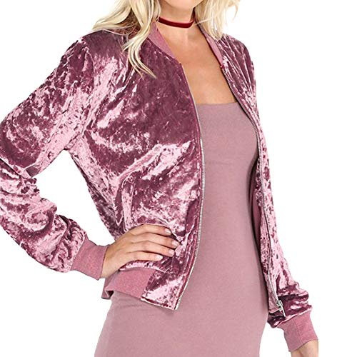 Womens Fashion Shining Velvet Bomber Jacket Slim Long Sleeve Zipper Coat Outwear (Pink, L) by Amacok